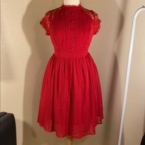 Red polka dot lace dress
